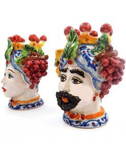 ceramica siciliana di caltagirone teste di moro con uva
