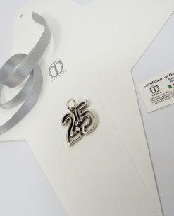ciondolo 25 tabor per anniversario con brillantino bianco