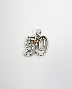 ciondolo 50 in argento con cristallo dorato