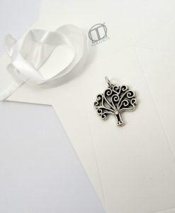 ciondolo albero con strass bianco e scatolina fai da te tabor