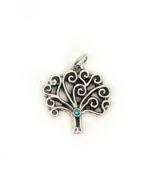 ciondolo albero della vita in argento con strass azzurro tabor