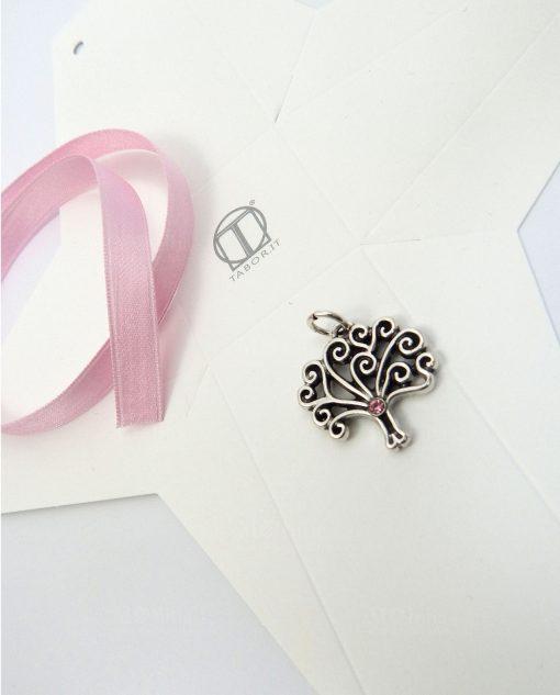 ciondolo argento albero della vita con strass rosa e scatolina fai da te tabor