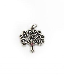 ciondolo argento albero della vita strass rosa tabor