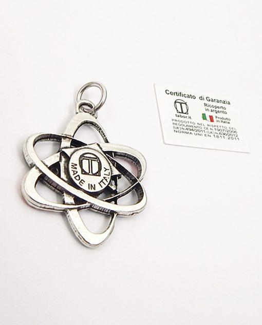 ciondolo argento made in italy tabor a forma di atomo