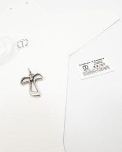 ciondolo croce in argento con strass bianco tabor