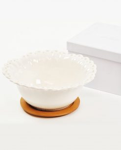 ciotolina portaconfetti in porcellana bianca con base in bamboo con scatola