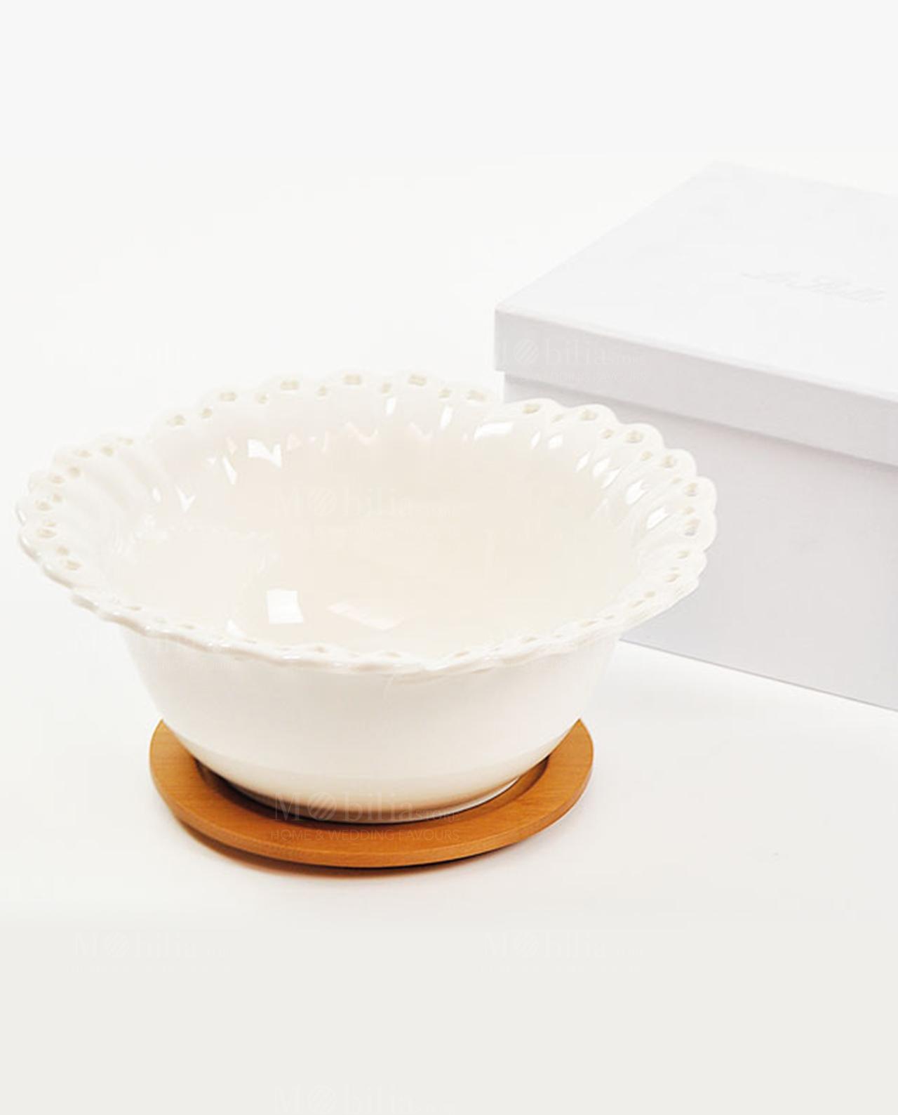 Coppetta in porcellana con supporto bamboo