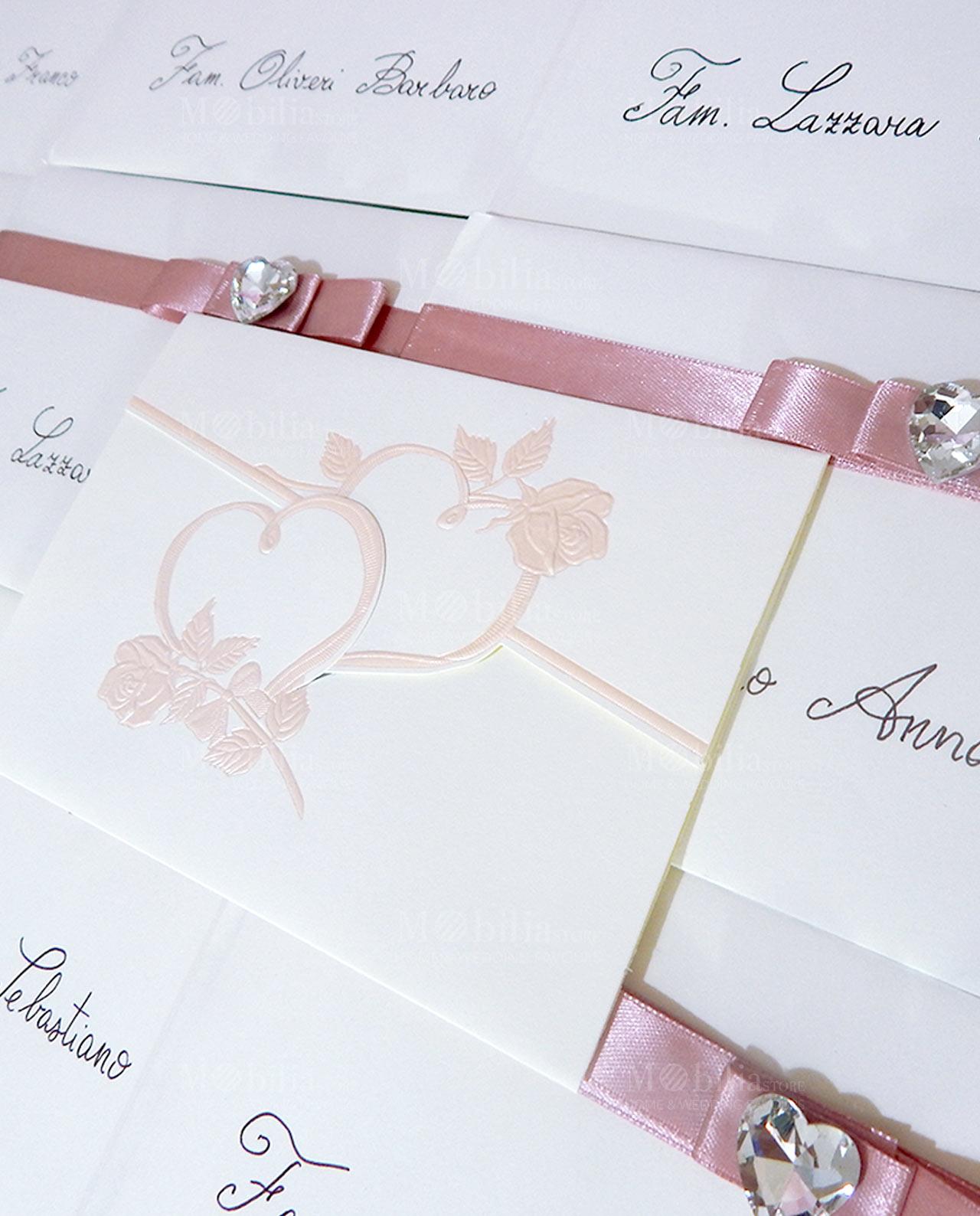 Matrimonio Tema Cuore : Inviti partecipazioni matrimonio shabby chic con fiocco e
