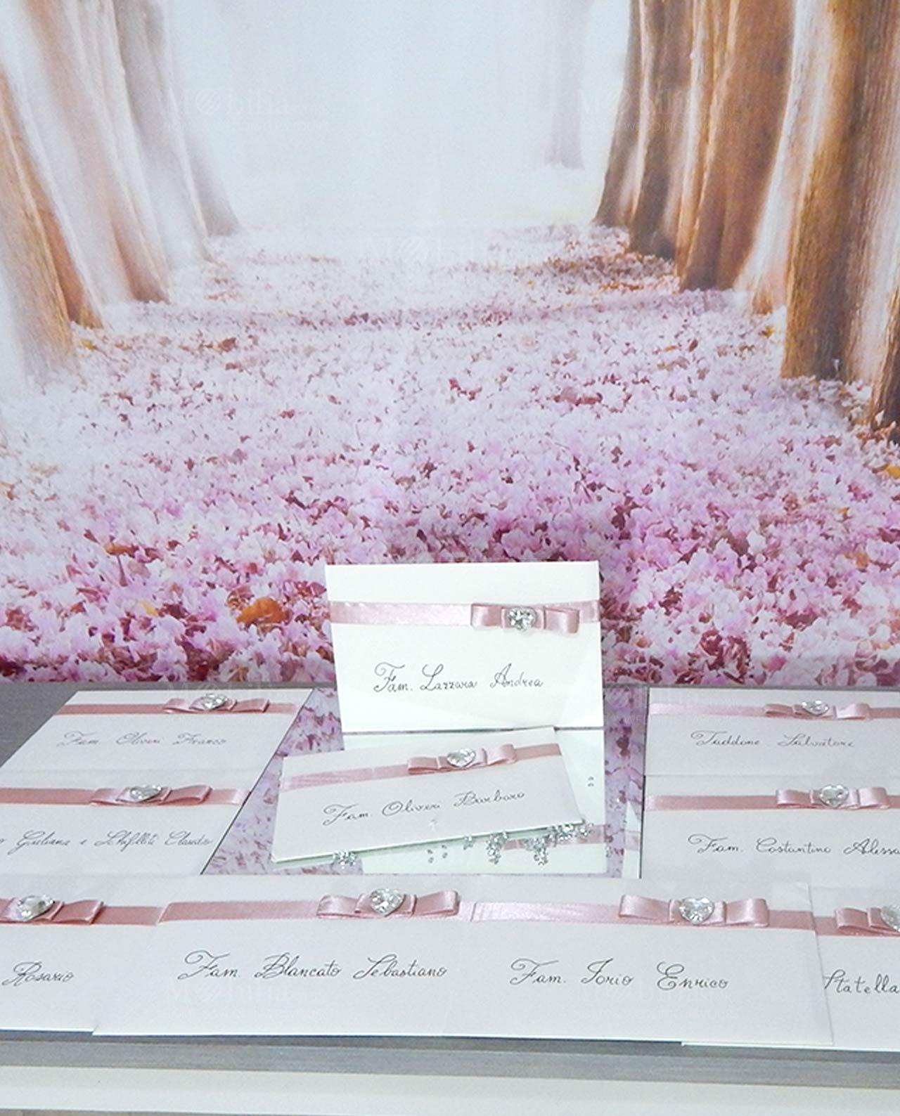 Partecipazioni Matrimonio Con Fiocco.Inviti Partecipazioni Matrimonio Shabby Chic Con Fiocco E Cuore
