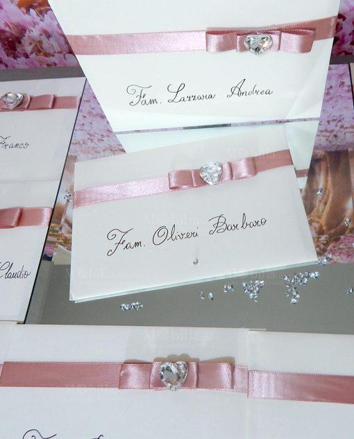 partecipazioni nozze cartoncino con fiocco rosa e cuore