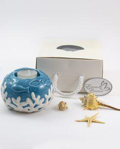 portacandela sfera con corallo bianco e pesciolini blu