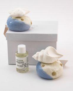 profumatore porcellana con stella marina e conchiglia fragranza fior di limone