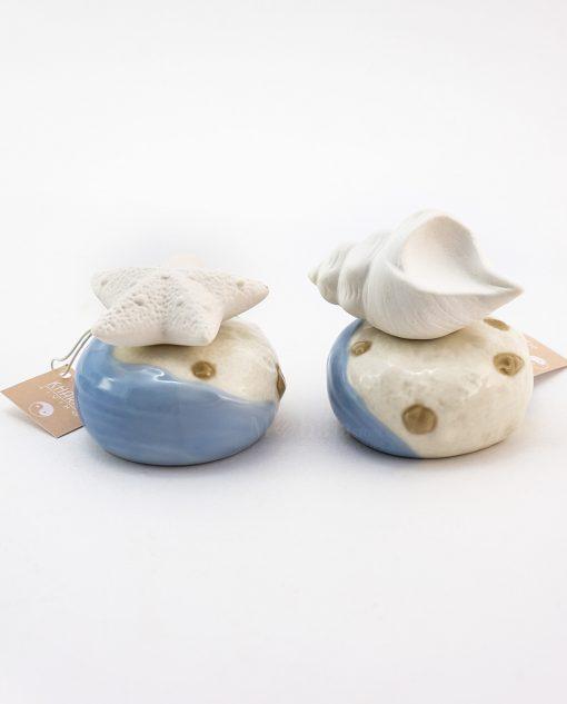 profumatore porcellana ricico con conchiglia e riccio con stella marina