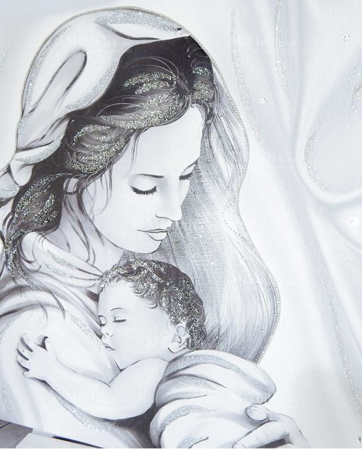 quadro capezzale maternità con swarovski e glitter argentati