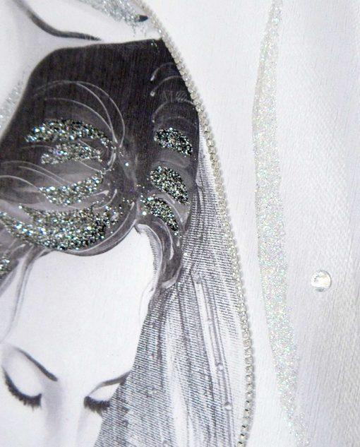 quadro maternità moderno con punti luce e glitter
