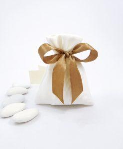 sacchettino in raso di cotone bianco con nastro tortora