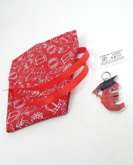 sacchetto rosso fai da te per laurea con ciondolo euro tabor