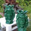 scultura testa di moro ceramica artigianale di caltagirone verde