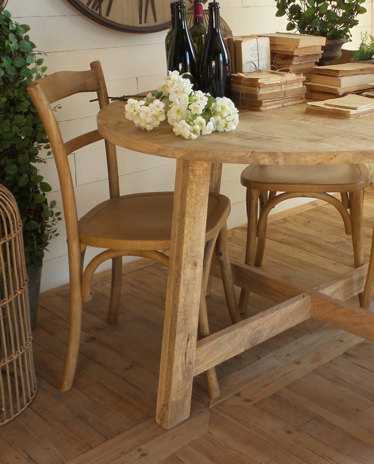 Tavolo rotondo legno naturale di mango mobilia store - Tavolo rotondo in legno ...