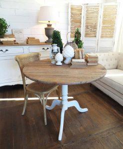 tavolo rotondo in rovere riciclato con finitura in legno sbiancato