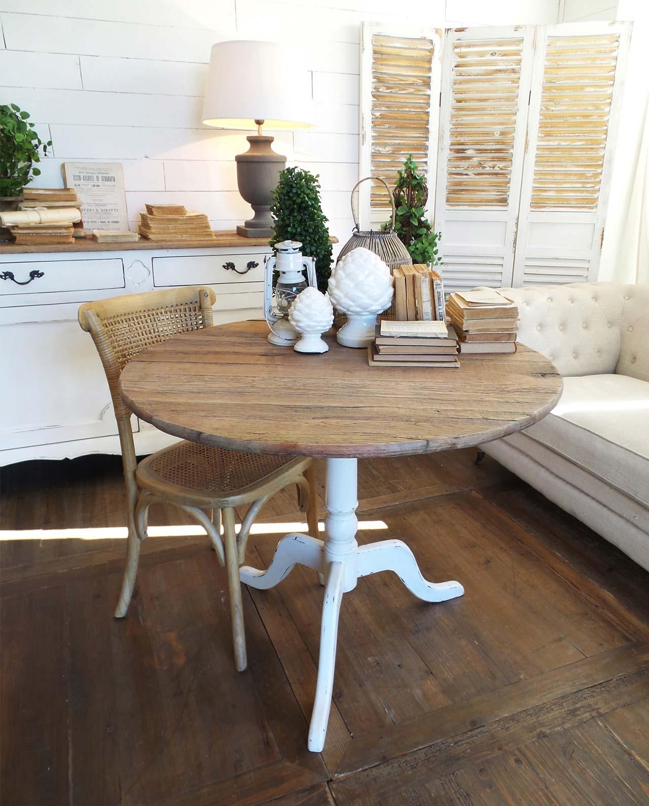 Tavolo rotondo con piede centrale in legno di rovere for Tavolo rotondo allungabile legno
