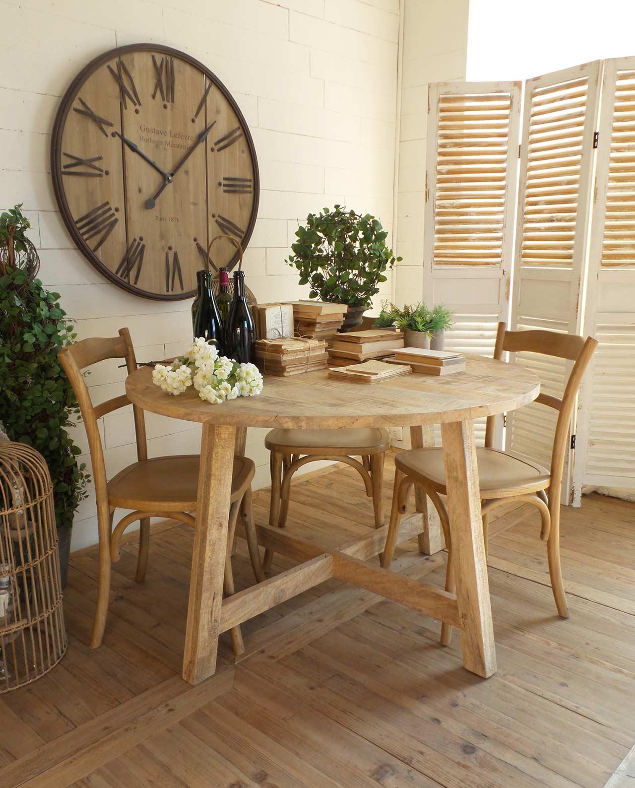 Tavolo rotondo legno naturale di mango - Mobilia Store Home & Favours