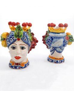 testa di moro donna con frutta in ceramica artistica di caltagirone