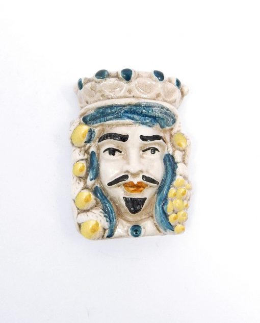 testa di moro re con calamita in ceramica di caltagirone