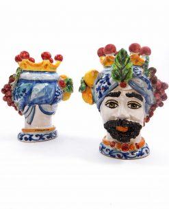 testa di moro uomo con frutta in ceramica artistica di caltagirone