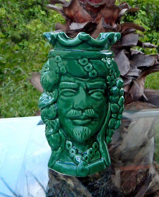 testa di moro verde re ceramica di caltagirone con corona