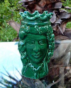 testa di moro verde regina ceramica di caltagirone con corona