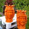 teste di moro ceramica dipinta a mano arancione di Caltagirone