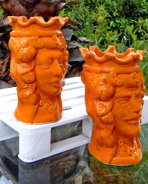 teste di moro re e regina ceramica arancione artigianale di caltagirone