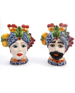 teste di moro re e regina con uva e limoni colorati ceramica di caltagirone