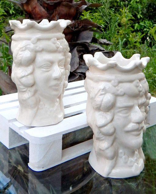 vasi teste di moro in ceramica bianca di caltagirone con corona