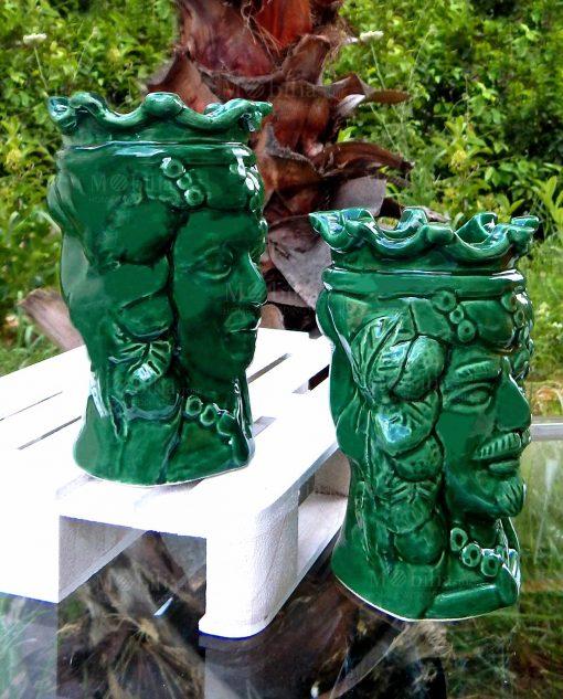 vasi teste di moro in ceramica verde di caltagirone con corona