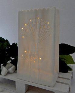 vaso con led in ceramica bianca ad emozioni