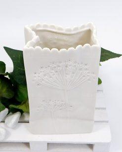 vaso con luce led in ceramica bianca ad emozioni