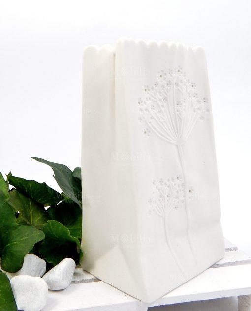 vaso in ceramica bianca con luce led ad emozioni