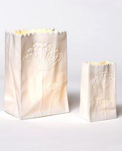 vaso in ceramica bianca con luce led ad emozioni country chic