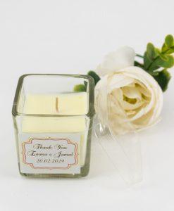 barattolo vetro quadrato con candela bianca e tappo