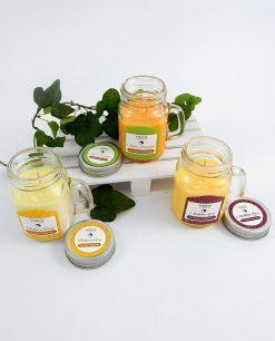boccale in vetro con candele profumate