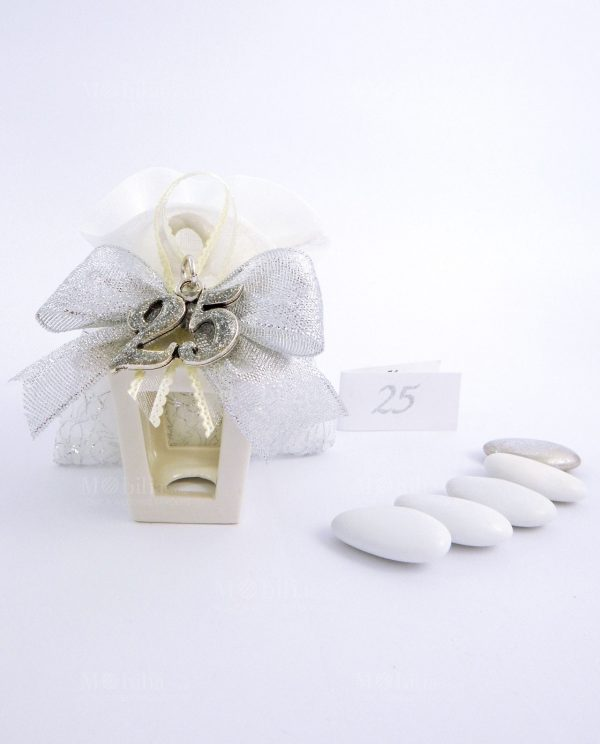 bomboniera lanterna portacandela con ciondolo 25 argento con glitter tabor