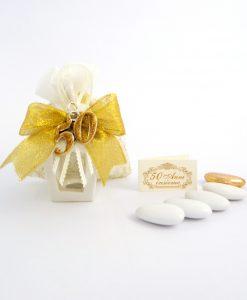 bomboniera lanterna bianca con ciondolo 50 argento glitterato oro tabor