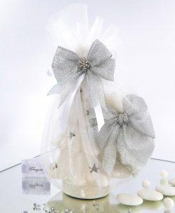 bomboniera alberello di natale in porcellana bianca traforata con luce led