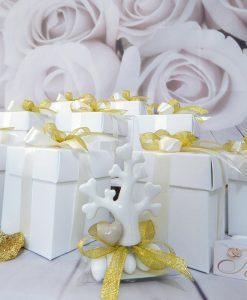 bomboniera albero della vita porcellana con scatola cartoncino bianco