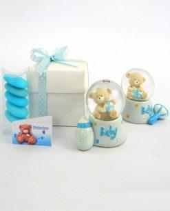 bomboniera battesimo bimbo palla di vetro con orsetto azzurro decoro assortito