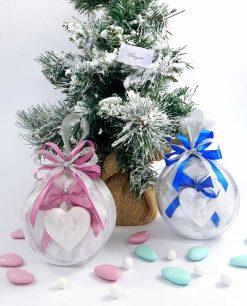 bomboniera battesimo sfera natalizia con appendino cuore