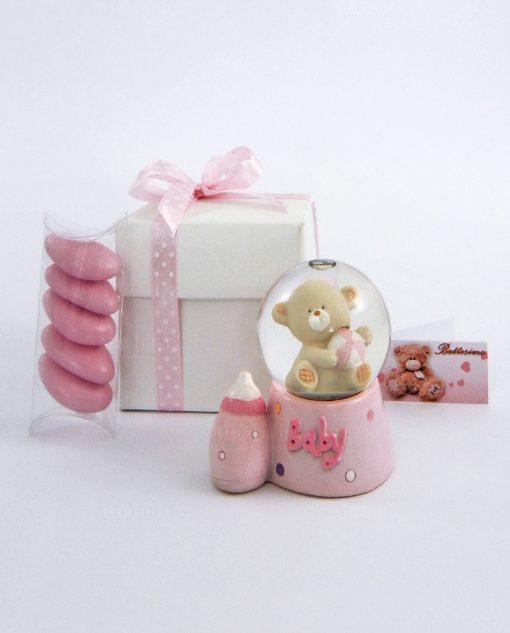 bomboniera bimba palla di vetro con orsetto rosa