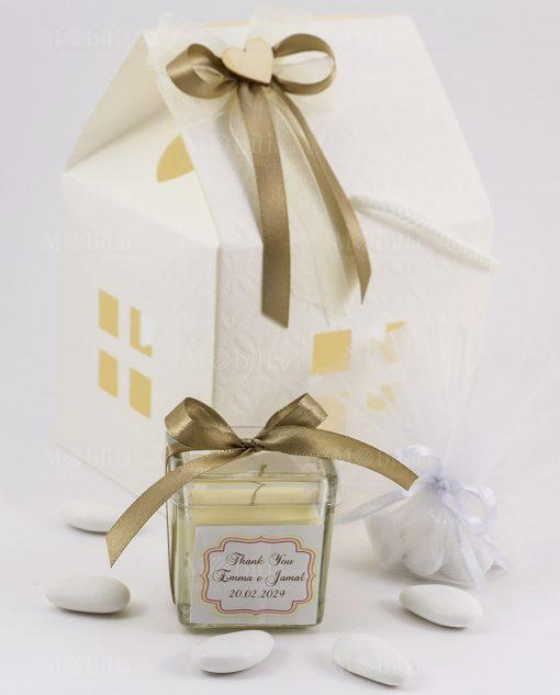 bomboniera candela barattolo vetro con tappo scatola casetta trapuntata